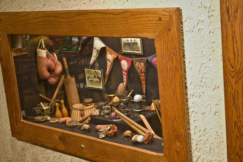 Bob's sports memorabilia.