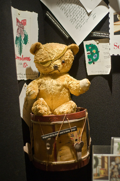 "The ""Two Million Dollar Bear""  This bear, Patches, was the subject of a painting which was the inspiration for the highly successful, annual ""Teddy Bear Ball""  which has raised two million dollars for Duke University Children's Hospital."
