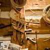 Tools and newspaper clippings in the replica of Fred Craver's workshop a the Lexington Gallery