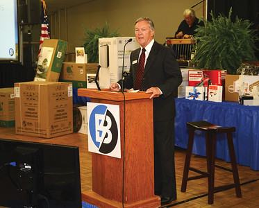 Ben Flencher, Bluebonnet Board Chairman speaks to the crowd during the 2015 Annual Meeting in Giddings, Texas.