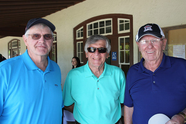KEN YUSZKUS/Staff photo.       From left, Bob Geswell of Gloucester, John Moustakis of Salem, and Bill Cullen of Danvers attend the John Aucone Memorial Golf Tournament.  John Aucone  was a long-time teacher, Beverly High assistant principal; Briscoe MS principal; Hall of Fame soccer coach at both Salem High and St. John's Prep, who died last year.     05/23/16