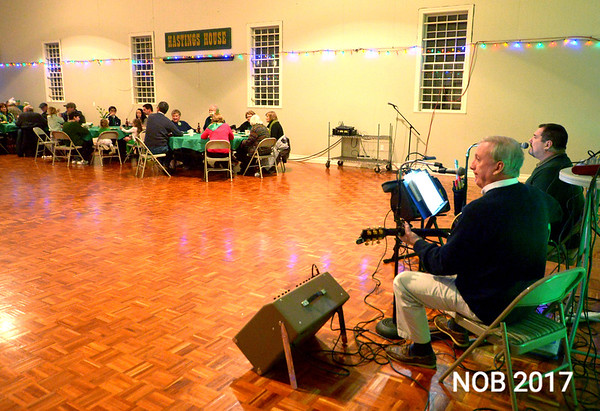 JIM VAIKNORAS/Staff photo  Tobin and Leahey perform at the St Patrick's Day dinner at the Hastings House in Beverly Farms.