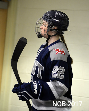"""RYAN HUTTON/ Staff photo<br /> Abby Nearis, of Beverly, plays defense for the Kent School during the Division 1 Championship Game against New Hampton at the Phillips Academy rink on Sunday, March 5. <br /> """"Abby is the kind of player that can take over a hockey game,"""" Kent head coach Shawn Rousseau says. """"She's dominant in her ability to defend and she transitions the puck forward to create offense."""