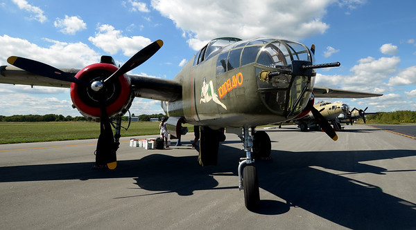 JIM VAIKNORAS/Staff photo The nose of a B-25 Mitchell bomber during the Collins Foundation Wings of Victory Tour at Beverly Airport.