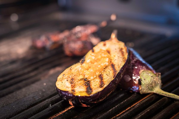 Eggplant on the wood fire grill at the Wild Horse Cafe in Beverly.