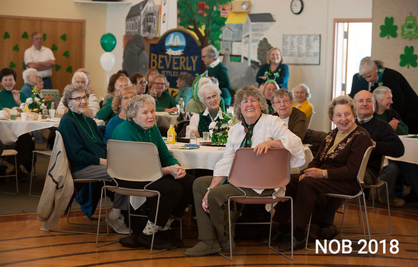 AMY SWEENEY/Staff photo. A St. Patrick's Day party at the Beverly Senior Center was well attended.  Brian Corcoran performed singing  Irish[American songs in a sing-a-long.<br /> 3/15/2018
