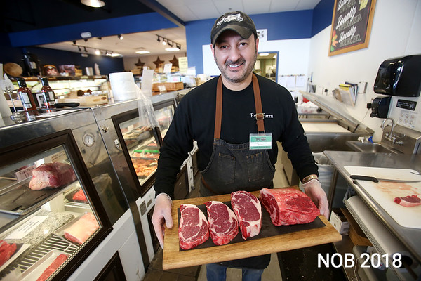 HADLEY GREEN/Staff photo. Roberto Alonzo, originally from Argentina, has four organic butcher shops. In Beverly, Middleton, Ipswich and Marblehead.March 8, 2018