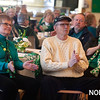 "AMY SWEENEY/Staff photo. Cookie and Barry Fritz, left, and Gloria Popiedzinski, sing along to ""God Bless America"" with Brian Corcoran during the St. Partrick's Day party held at the Beverly Senior Center.<br /> 3/15/2018"