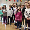 HADLEY GREEN/Staff photo<br /> Simonne Stern, center, in pink, rehearses for Mary Poppins at the Glen Urquhart School in Beverly. Stern is a five-year-old preschool student from Marblehead who just performed with Waitress in Boston, and will soon appear in Mary Poppins. <br /> <br /> 03/06/18