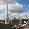 AMY SWEENEY/Staff photo. A view of the First Baptist Church on Cabot Street in Beverly from the steeple of the First Parish Unitarian Universalist Church located at 225 Cabot St.<br /> Sept. 15, 2016