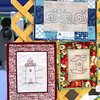 KEN YUSZKUS/Staff photo.  Wall hangings at The Happy Quilter booth at the Danvers Farmers Market.  07/06/16