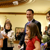 MARY SCHWALM/Staff photo  Peabody Mayor Ted Bettencourt is lead into the Wiggins Auditorium by his wife Andrea and their daughters Taylor, left, Avery and Ally before delivering the State of City at City Hall in Peabody. 1/5/15
