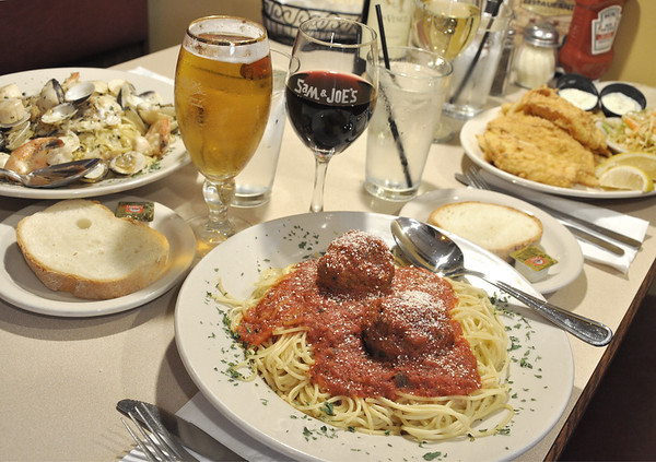 Spaghetti and meatballs at  Sam and Joe's Restaurant on Water Street in Danvers.<br /> Photo by Kathy Chapman