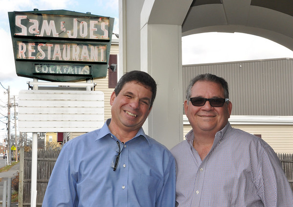 Cousins Anthony Ciruolo and Ralph Calitri who run Sam and Joe's Restaurant.<br /> Photo by Kathy Chapman.