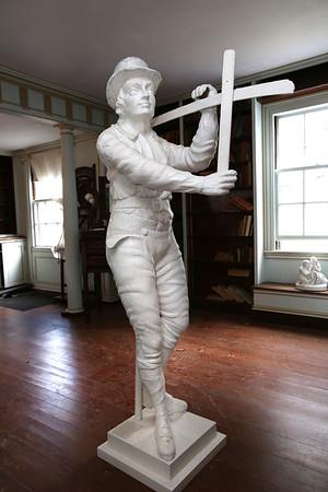 KEN YUSZKUS/Staff photo.     The wooden sculpture, the reaper, at Glen Magna.        09/14/16