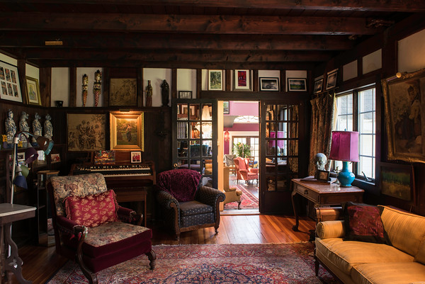 The entry way looking into the music room of John Archer's home in Danvers.
