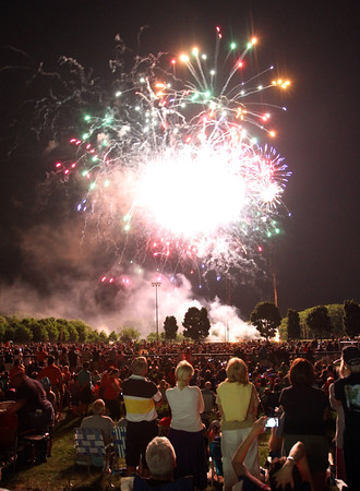 MARIA UMINSKI/SALEM NEWS People from all over crammed into Plains Park in Danvers to watch the fireworks display on Saturday July 5. The event is part of the Danvers Family Festival.