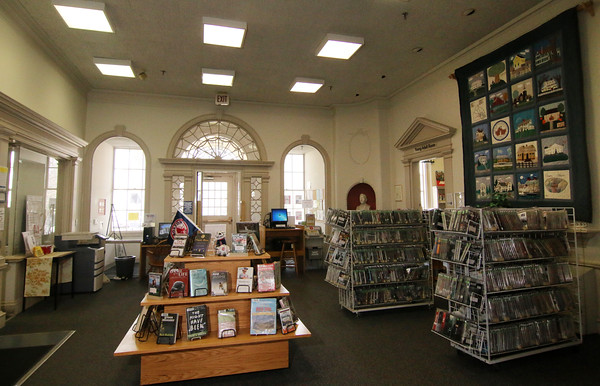 Photo by Allegra Boverman. At the Peabody Institute Library of Danvers. The front lobby of the library.