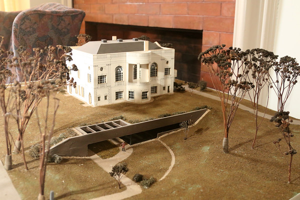 Photo by Allegra Boverman. At the Peabody Institute Library of Danvers. A diorama of the library and its grounds.