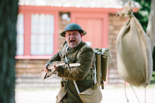 JARED CHARNEY/ Photo. Chris Benedetto, a WWI reeanactor during a training exercise at the 5th Annual Gala at the Rebecca Nurse Homestead in Danvers, Saturday, June 25, 2016.
