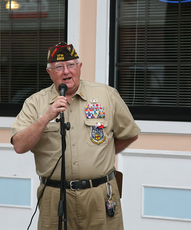 AMY SWEENEY/Staff photo<br /> Dick Moody, founder of Operation Troop Support, addresses the  9/11 ceremony at New Brothers Restaurant and Deli in Danvers. 9/11/16