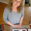 PAUL BILODEAU/Staff photo.  Local Haverhill artist Leslie McGrath in her studio in Haverhill.