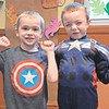 TIM JEAN/Staff photo <br /> Nate Morse, left, and Ryan Bergeron flexes their muscles for Super Hero and Princess day during Catholic Schools Week at Sacred Hearts School in Bradford.     2/3/16