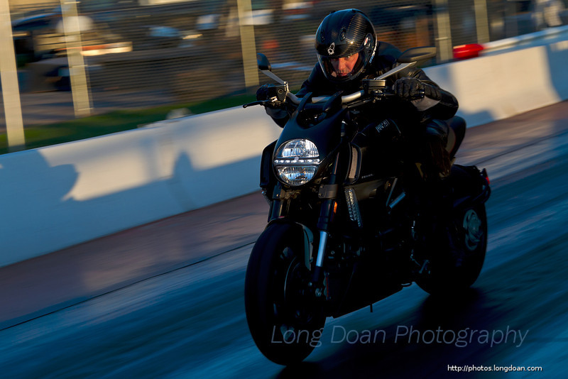 Jim taking the Ducati Diavel down the drag strip.
