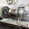 TIM JEAN/Staff photo<br /> The TF 34 Fanjet Engine, and a much smaller Jacobs R755-9 Radial Aircraft Engine, left, on display at Aviation Museum of New Hampshire in Londonderry.   5/25/16