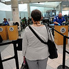 TIM JEAN/Staff photo<br /> Air passengers wait to be screened by the TSA in the checkpoint area at the Manchester Boston Regional Airport in Londonderry.   6/28/16