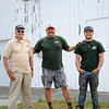 TIM JEAN/Staff photo<br /> Daniel Hicks II, who turned 80 while being photographed stands with his son Dan and grandson Danny at Sunnycrest Farm in Londonderry. 7/20/16