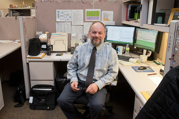 Barry Platt works as the Verans' Employment Representative of Southern Minnesota at the Minnesota Workforce Center located on the main floor of Mankato Place. Photo by Jackson Forderer