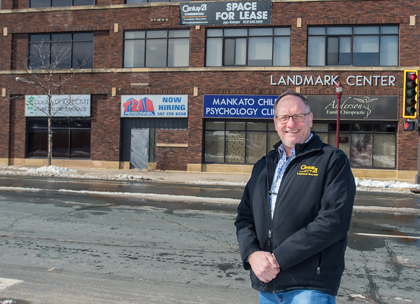 Jon Kietzer, who has owned the Landmark Center in downtown Mankato since 2014, said that there are currently six commercial tenants and 11 apartments in the building, with plans to convert the third floor to apartments. Kietzer said that the building was originally a car dealership when it was built in 1919. Photo by Jackson Forderer