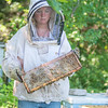 Kaylee Carnahan walks with a frame from a hive at one of the 15 bee yards run by Moody Bees Honey. Carnahan worked with another beekeeper before joining Moody Bees Honey and has six years of experience in beekeeping. Photo by Jackson Forderer