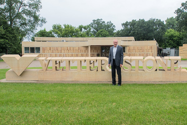 Ron Vetter, CEO and President of Vetter Stone, in front of the company's offices in rural Mankato. Vetter Stone currently has roughly 120 employees. Photo by Jackson Forderer