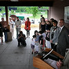 John Cross<br /> Denny Dotson speaks to an audience after the announcement Tuesday at Riverfront Park of a $500,000 donation to the Children's Museum of Southern Minnesota from the Dotson Family Fund of the Mankato Area Foundation. Carol and Denny Dotson also loaned the 1917 Little Giant tractor visible in the background to the museum to become part of an outside play area.