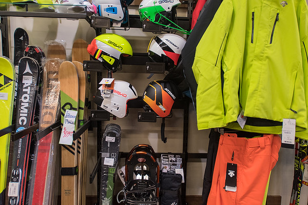A small section of Nicollet Bike and Ski is currently dedicated to ski gear, but will seasonally change in September and October when people get ready for ski season. Photo by Jackson Forderer