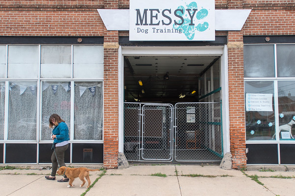 Alex Oldenburg walks Windigo, a dog she is training, outside of Messy Dog. Photo by Jackson Forderer