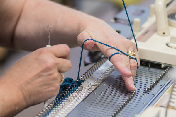 Jolene Vickers works on a knitting machine at Knit and Sew World in St. Peter. Kay Carlson works on a knitting machine at Knit and Sew World in St. Peter. Vickers and Kay Carlson were knitting a pattern for a jacket during a class taught by Amanda Young at the business. Photo by Jackson Forderer