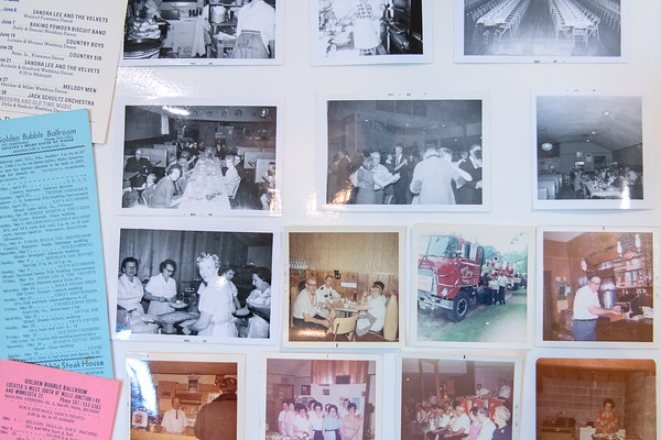 Old photos on display at the entrance into the Golden Bubble.