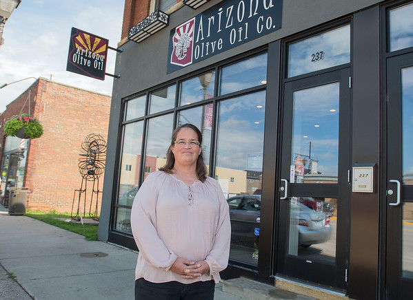 Lisa Phillips, the new owner of Arizona Olive Oil Co., outside of the business's new location on Belgrade Avenue in North Mankato. Photo by Jackson Forderer