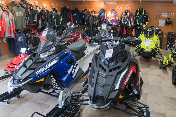 The showroom at Vetter Sales and Service includes Polaris snowmobiles, jackets, helmets, side-by-sides and other accessories. Photo by Jackson Forderer