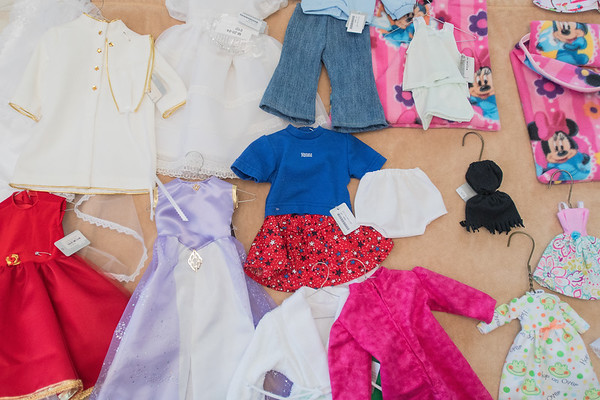 A small sample of the kinds of clothes Mary Hale has made for dolls. Hale said that Barbie dolls are popular with people over 40 years old, and American Girl is more popular with those under 40. Photo by Jackson Forderer