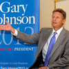 CARL RUSSO/Staff photo. Former New Mexico Governor and presidential candidate Gary Johnson speaking at town hall forum at Pinkerton Academy Wednesday night. 8/24/2011.
