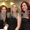 Photo by Frank J. Leone, Jr.   At left, esthetician Tricia Utley of Nashua, Kim Gaudette of Merrimack and Jessica Ruston of<br /> Goffstown, both styllists,<br /> at the Re-Opening of Salon Bogar, Thursday, 25 Orchard View Drive, Londonderry, NH.<br /> 3/29/12