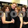 Photo by Frank J. Leone, Jr.  From left, Renee Cipollone of Windham, Maria Kalanthakis of Hudson, Charlie Alexander of Manchester,<br /> Janet Dolan of Raymond, all stylists, with Jennifer Lafond, esthetician and Elizabeth McIntyre, stylist, both of Manchester,<br /> at the Re-Opening of Salon Bogar, Thursday, 25 Orchard View Drive, Londonderry, NH.<br /> 3/29/12