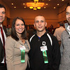 Photo by Frank J. Leone, Jr.  HYPE event organizers, from left, Ryan Horgan, board chairman, Rockingham Toyota, Kristen Vadala, past<br /> board chairman, Enterprise Bank, both of Salem, D. J. Gravell of Methuen, D. J. Custom Clothing and Trent Sanders of Salem, 36 Creative, <br /> at the HYPE Big Speaker Event, Thursday, Atkinson Country Club, Atkinson.<br /> 1/26/12