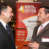 Photo by Frank J. Leone, Jr.   At left, guest speaker David Sollars of North Andover and First Health chats with event sponsor, Mark<br /> Owen of Derry, vice-president of Enterprise Bank, <br /> at the HYPE Big Speaker Event, Thursday, Atkinson Country Club, Atkinson.<br /> 1/26/12