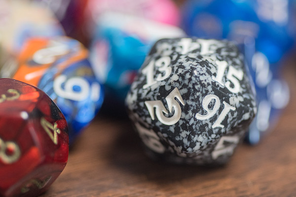 A 20-sided die of Dave Powers, who was the dungeon master for a game of Dungeon and Dragons at the Dork Den. Photo by Jackson Forderer