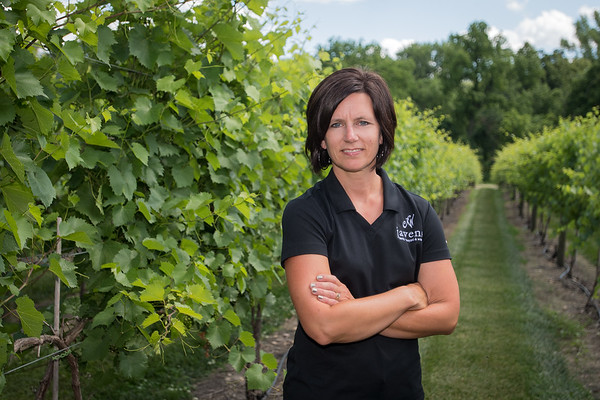 Heather Javens of Javens Family Winery in one of many rows of grape vines at the winery in rural Mankato. The winery first planted in 2010 and recently opened a tasting room in 2016. Photo by Jackson Forderer